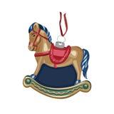 Cavallo del giocattolo dell'albero di Natale Fotografie Stock Libere da Diritti