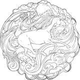 Cavallo di fantasia che passa il vento illustrazione di stock