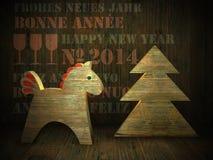 cavallo di legno, cartolina d'auguri del nuovo anno 2014 Immagini Stock Libere da Diritti