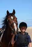 Cavallo di resistenza e ritratto del cavaliere fotografia stock