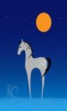 Cavallo di sogno della luna di inverno Immagini Stock