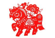 Cavallo di taglio del documento cinese Fotografia Stock