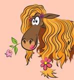 Cavallo divertente con un fiore Fotografie Stock