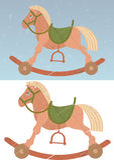 Cavallo a dondolo del giocattolo sui retro precedenti Fotografia Stock Libera da Diritti