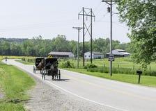 Cavallo e carrozzini di Amish nell'Ohio rurale fotografia stock
