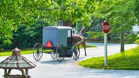 Cavallo e carrozzino di Amish che scendono la strada immagini stock