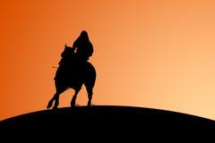Cavallo e cavaliere - siluetta Immagine Stock Libera da Diritti
