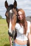 Cavallo e giovane donna Immagine Stock Libera da Diritti