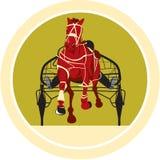Cavallo e puleggia tenditrice Harness Racing Retro Fotografie Stock Libere da Diritti