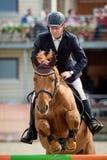 Cavallo equestre Rider Jumping Rappresenti la mostra del concorrente che esegue nella concorrenza di salto di manifestazione Immagini Stock Libere da Diritti