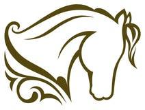 Cavallo nero della siluetta Immagini Stock