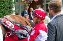 Cavallo Racing Puleggia tenditrice Georgia Dobie che disarciona cavallo fotografia stock libera da diritti