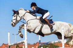 Cavallo Rider Jump Girl Fotografia Stock Libera da Diritti