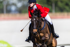 Cavallo Rider Jump Red Girl Fotografia Stock