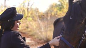 Cavallo Rider Portrait Giovane donna felice con il cavallo, sorridente video d archivio