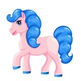 Cavallo rosa del fumetto con capelli blu illustrazione di stock