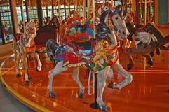 Cavallo scolpito del carosello Fotografia Stock Libera da Diritti