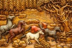 Cavallo tailandese scolpito Fotografia Stock