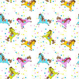 Cavallo Toy Birthday Seamless Pattern Fotografie Stock