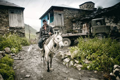 Cavallo in Ushguli Fotografia Stock