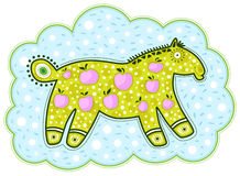 Cavallo verde e mele rosa Fotografia Stock