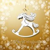 Cavalo amarelo do brinquedo o símbolo do ano novo Foto de Stock