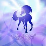 Cavalo azul o símbolo do ano novo Foto de Stock Royalty Free