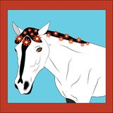 Cavalo com flores. Fotografia de Stock