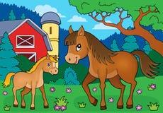 Cavalo com imagem 4 do tema do potro Foto de Stock