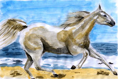 Cavalo da cor de água da ilustração Ilustração Stock