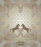 Cavalo da silhueta, projeto floral Fotografia de Stock