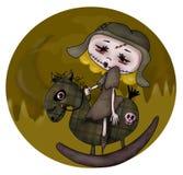Cavalo de balanço do zombi ilustração do vetor