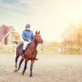 Cavalo de equitação do desportista na competição equestre Fotografia de Stock