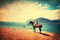Cavalo de equitação na praia Fotos de Stock Royalty Free