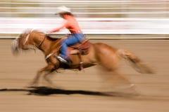 Cavalo de galope com Cowgirl imagem de stock