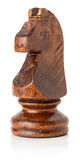 Cavalo de madeira preto da xadrez no fundo branco Imagens de Stock