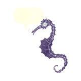 cavalo de mar dos desenhos animados com bolha do discurso Fotografia de Stock Royalty Free