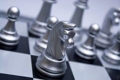 Cavalo de prata da xadrez Foto de Stock