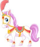 Cavalo do circo dos desenhos animados isolado no fundo branco Imagens de Stock