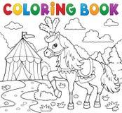 Cavalo do livro para colorir perto do tema 1 do circo Foto de Stock