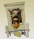 Cavalo do relincho dos desenhos animados que senta-se em um carro de madeira Imagem de Stock Royalty Free