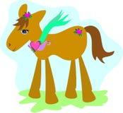 Cavalo doce com lotes dos corações ilustração stock