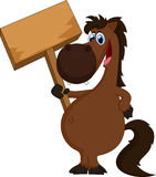 Cavalo dos desenhos animados que guarda o sinal vazio Fotos de Stock Royalty Free