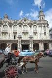Cavalo e carrinho com os carros americanos Havana Cuba do vintage imagem de stock royalty free