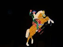 Cavalo e cavaleiro, sinal de néon. fotos de stock