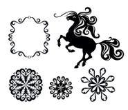 Cavalo e flocos de neve Foto de Stock Royalty Free