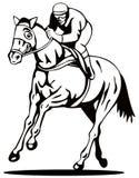 Cavalo e jóquei em um vencimento   ilustração do vetor