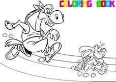 Cavalo e lebre em uma escada rolante ilustração do vetor