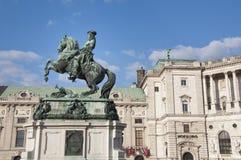 Cavalo e memorial do cavaleiro (arquiduque Charles/Erzherzog Karl) - Viena/Wien Áustria Fotos de Stock