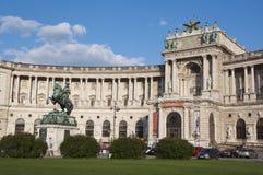 Cavalo e memorial do cavaleiro (arquiduque Charles/Erzherzog Karl) - Viena/Wien Áustria Fotografia de Stock